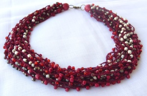 Cherry Red - Bead crochet necklace