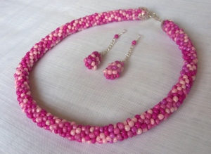 Rose Collection - Bead rope necklace and earring