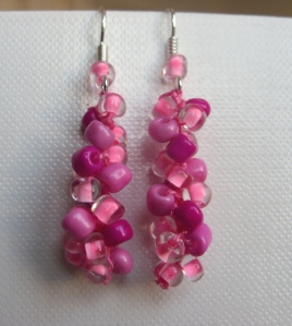 Bead crochet earring - rose and  pink