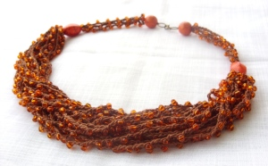 Brown crocheted beaded necklace