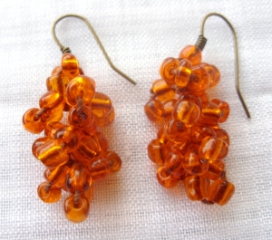Orange beaded earring
