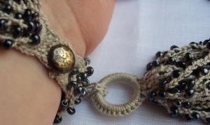 Black cream beaded bracelet 2