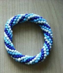 Bead crochet rope blue bracelet