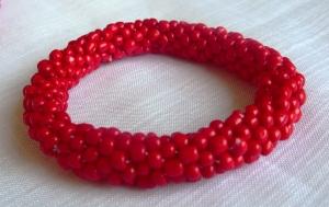Bead crochet rope bracelet red