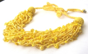 Beaded crocheted necklace