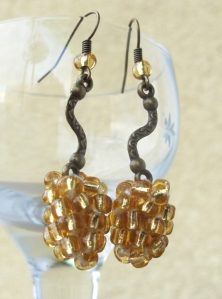 Beaded gold earrings