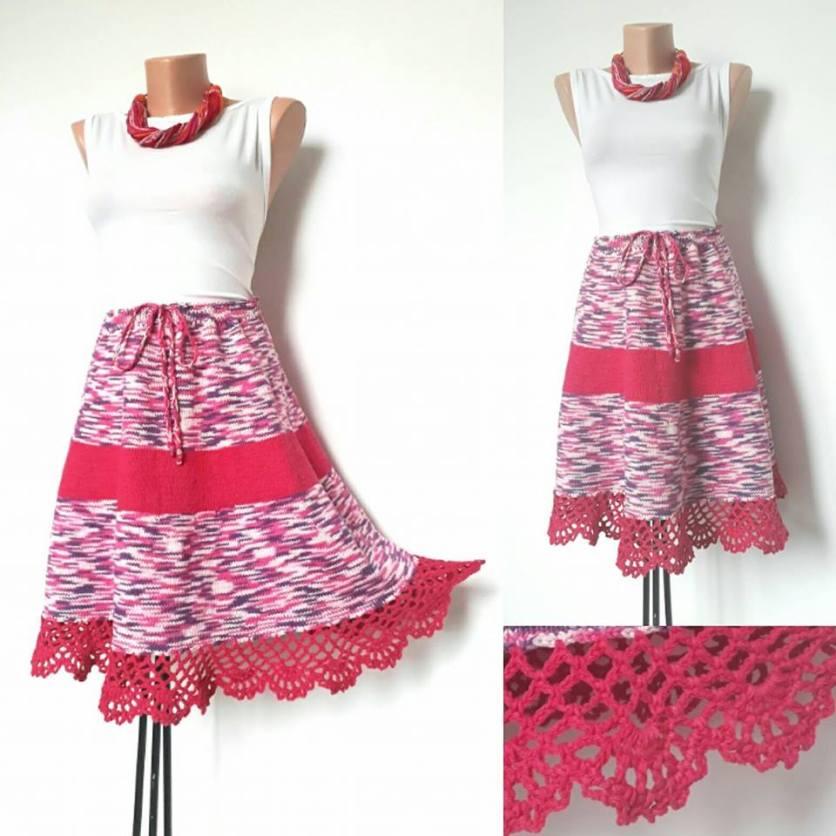 Fusta tricotata roz